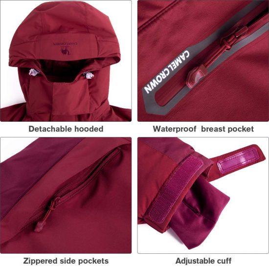 Jacket Nieve para Acampada y Marcha CAMEL CROWN Chaqueta de Plum/ón Invierno para Hombre Chaquetas de Esqu/í Ligero con Capucha